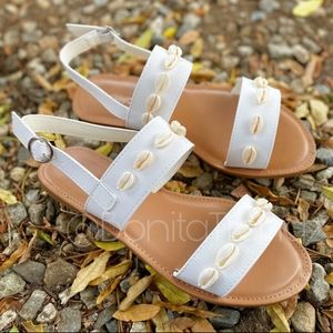 Sea Shell white double strap sandals
